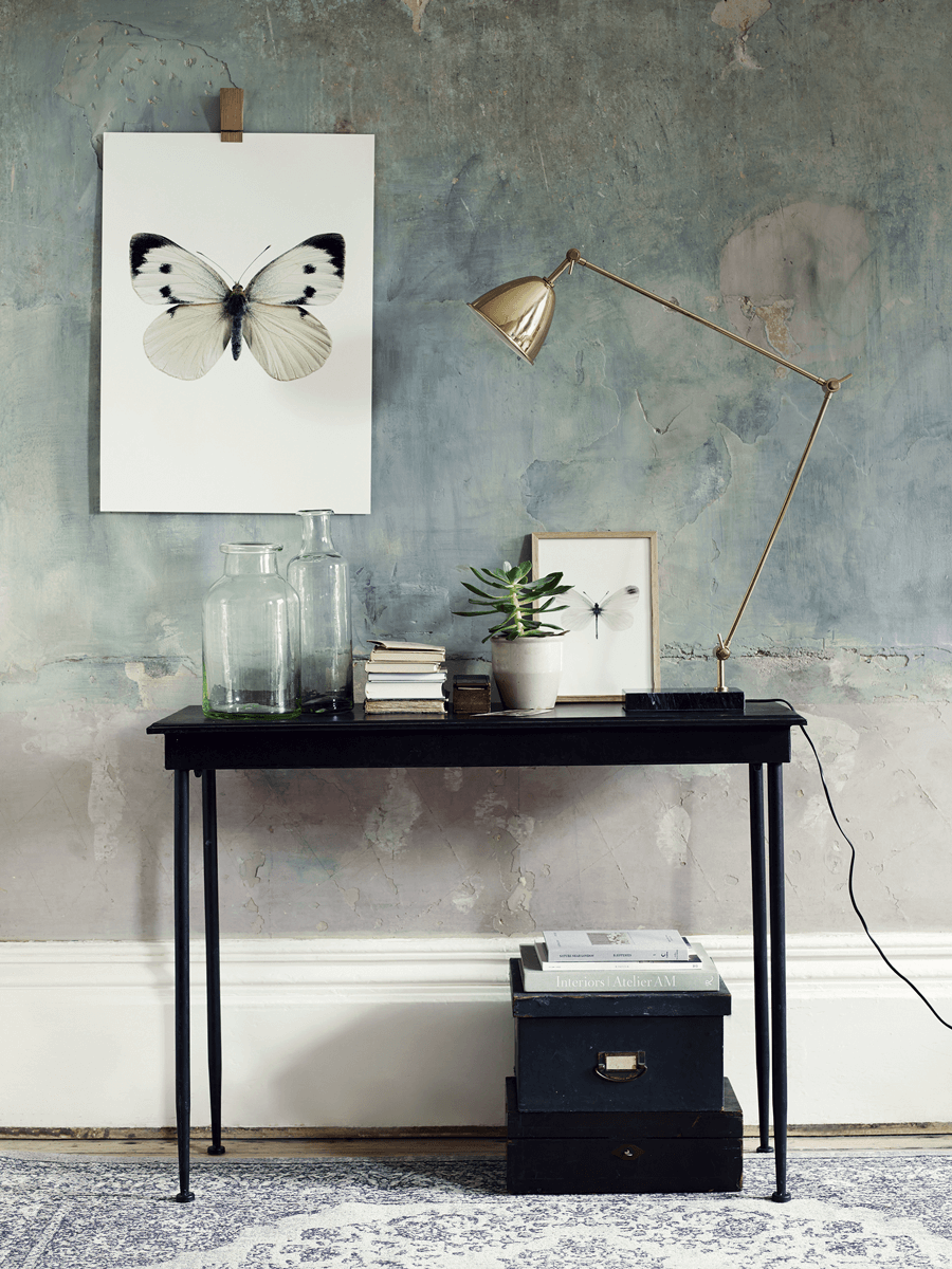 Antiqued metal console table