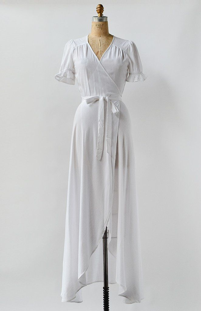 Earliest Light Dress / vintage inspired wrap dress / simple wedding dress