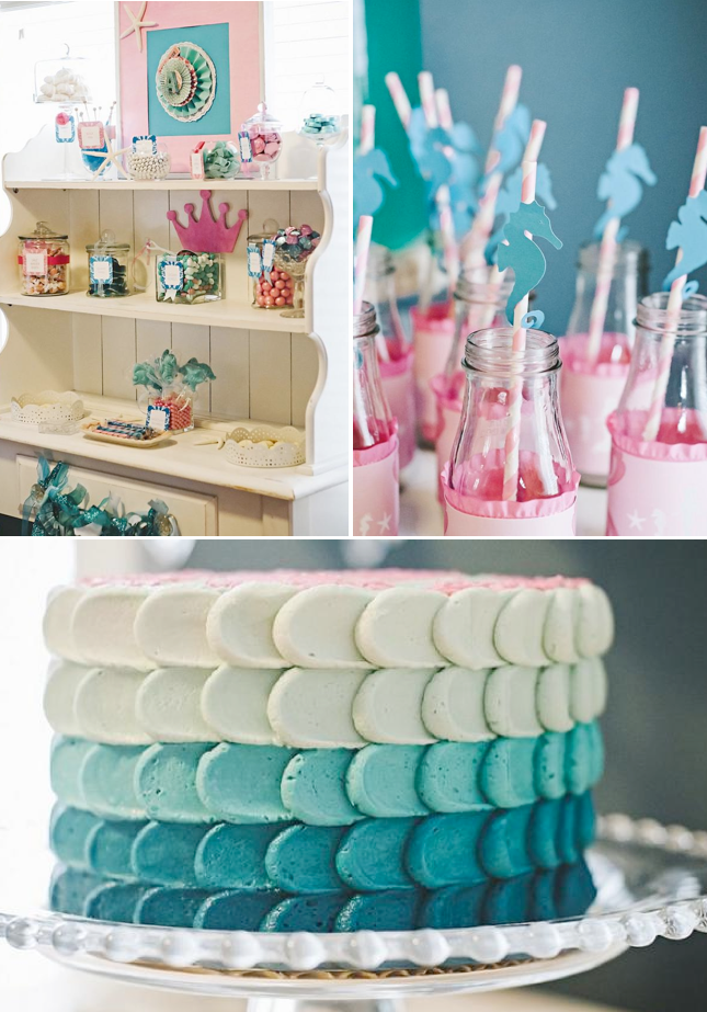 Under the Sea Mermaid themed birthday party FULL of cute ideas! Via Kara's Party Ideas KarasPartyIdeas.com #under #the #sea #mermaid #ocean #themed #birthday #party #ideas #supplies #idea #cake #decor
