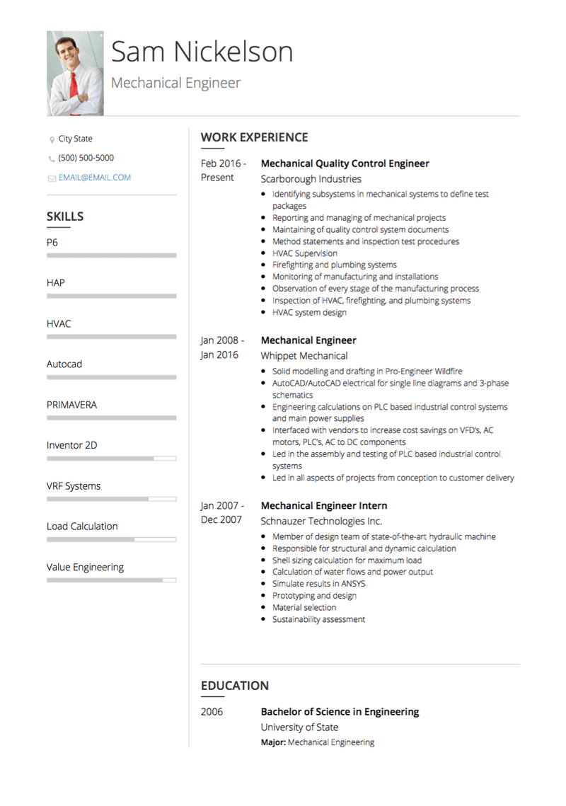 Best Mechanical Engineer CV Example and Template for 2020
