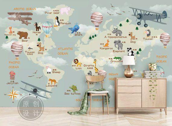 Nursery Wallpaper For Kids World Map Wall Mural Cartoon Animals and Hot Air Balloon Wall Print Child - -