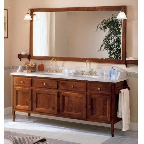 Mobile bagno arte povera Canova doppio lavabo top in marmo bianco ...