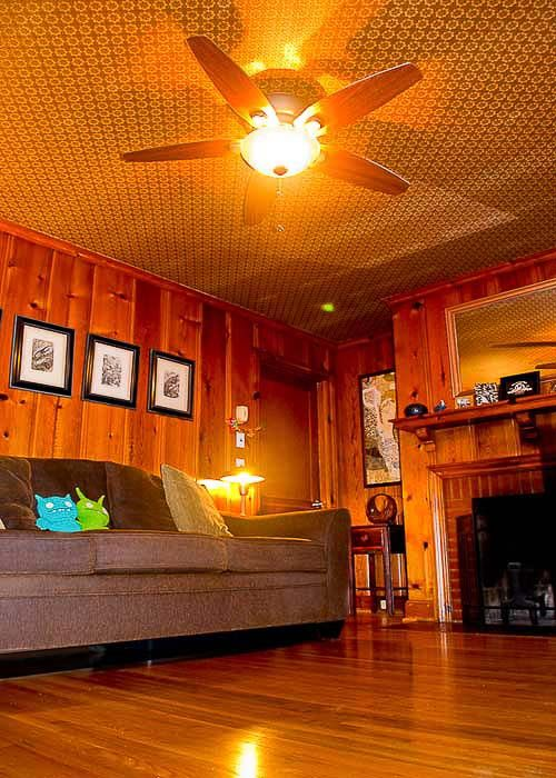 Vintage Wood Paneling: With 1953 Wallpaper On The Ceiling