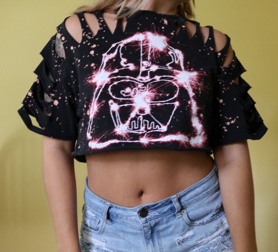 Darts Vader Crop Top Diy Crop Top Edgy Outfit Bleached Shirt Bleached Top Edgy Fashion Grunge 90s Grunge Diy Fashion Clothing Bleach Shirts Edgy Fashion