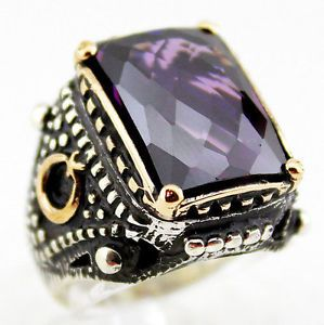 Opening Sale Sterling Silver Men Ring Amethyst Stone eBay