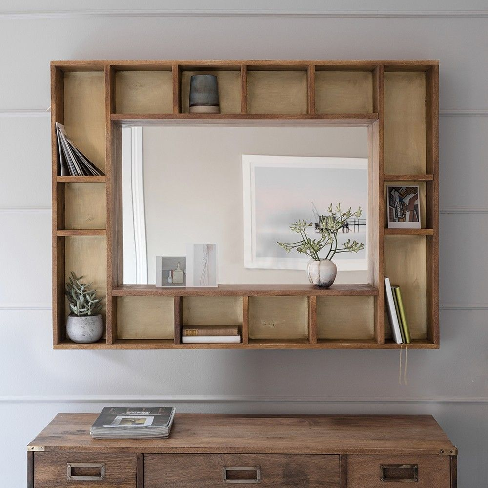 Pigeonhole Mirror Wall Mirror With Shelf