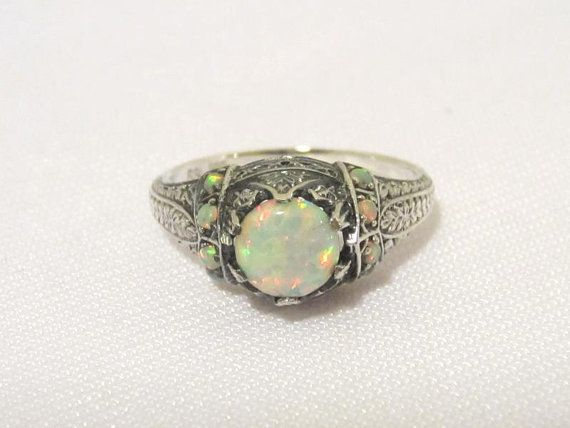 Vintage Art Deco Sterling Silver White Opal Filigree Ring Size 5.75