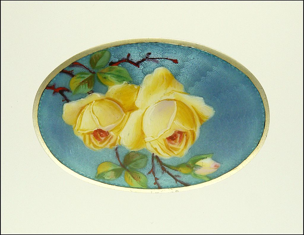 Antique 935 Silver and Enamel Roses Brooch by Meyle & Meyer