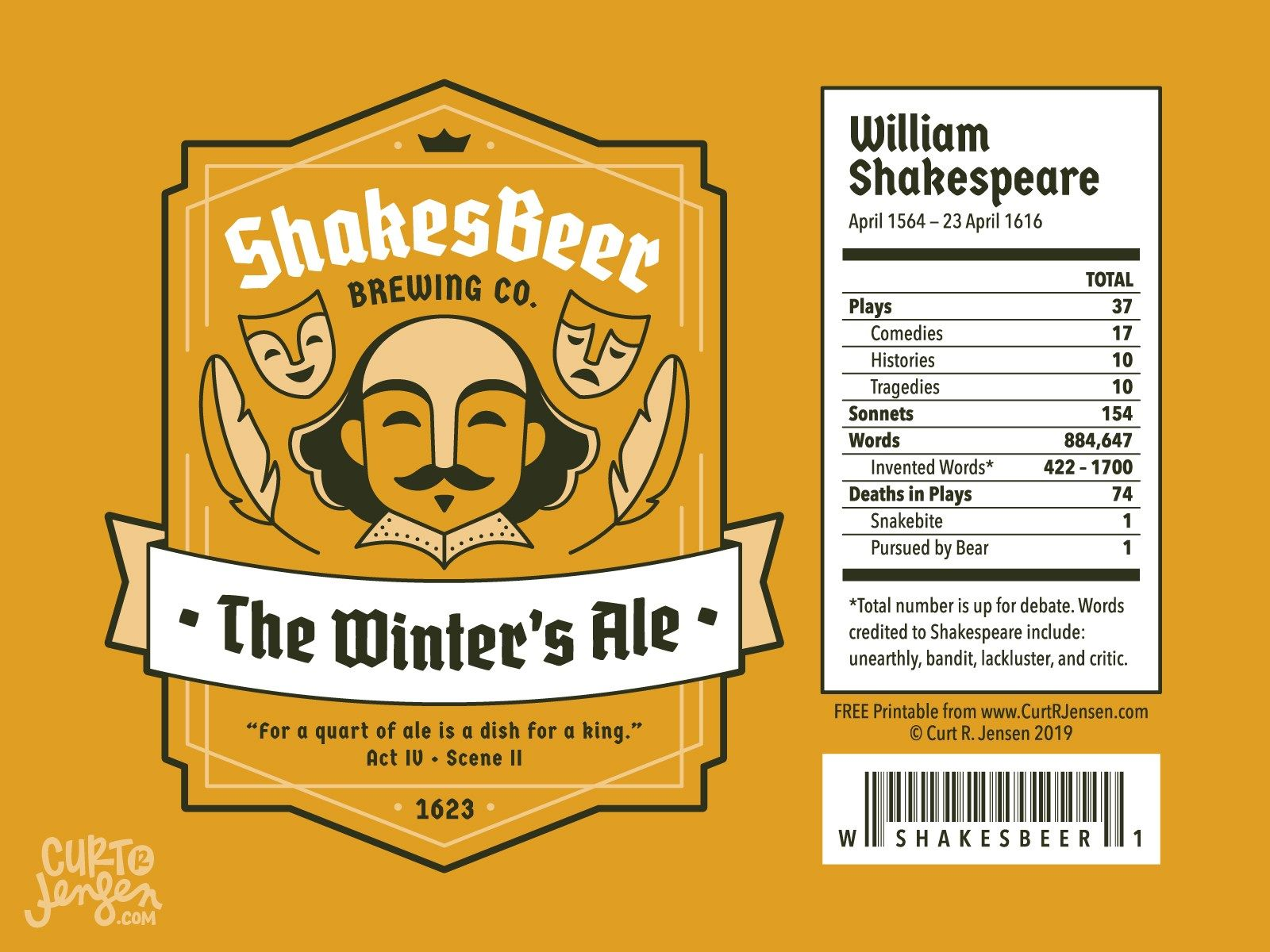 Free Printable Shakespeare Bottle Labels (With images
