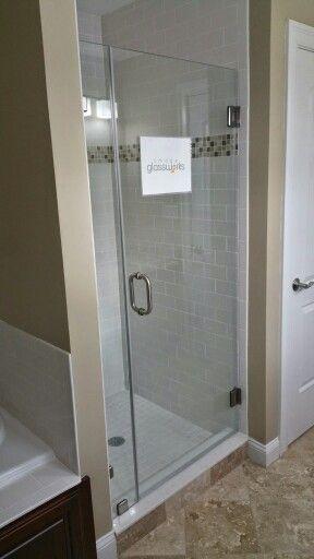 Standard 28 Frameless Shower Door And Small Stationary Panel