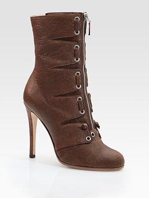 Thakoon Leather Lace-Up Zipper Ankle Boots
