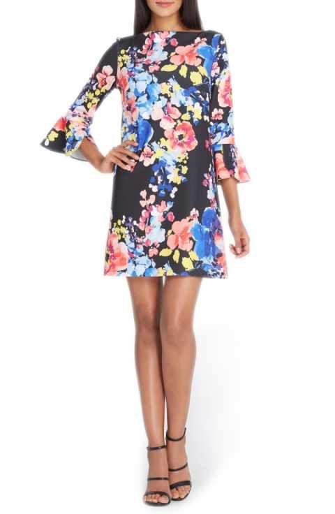 e951056a7d9a Tahari Flare Sleeve Shift Dress (Regular & Petite) | Fashion ...
