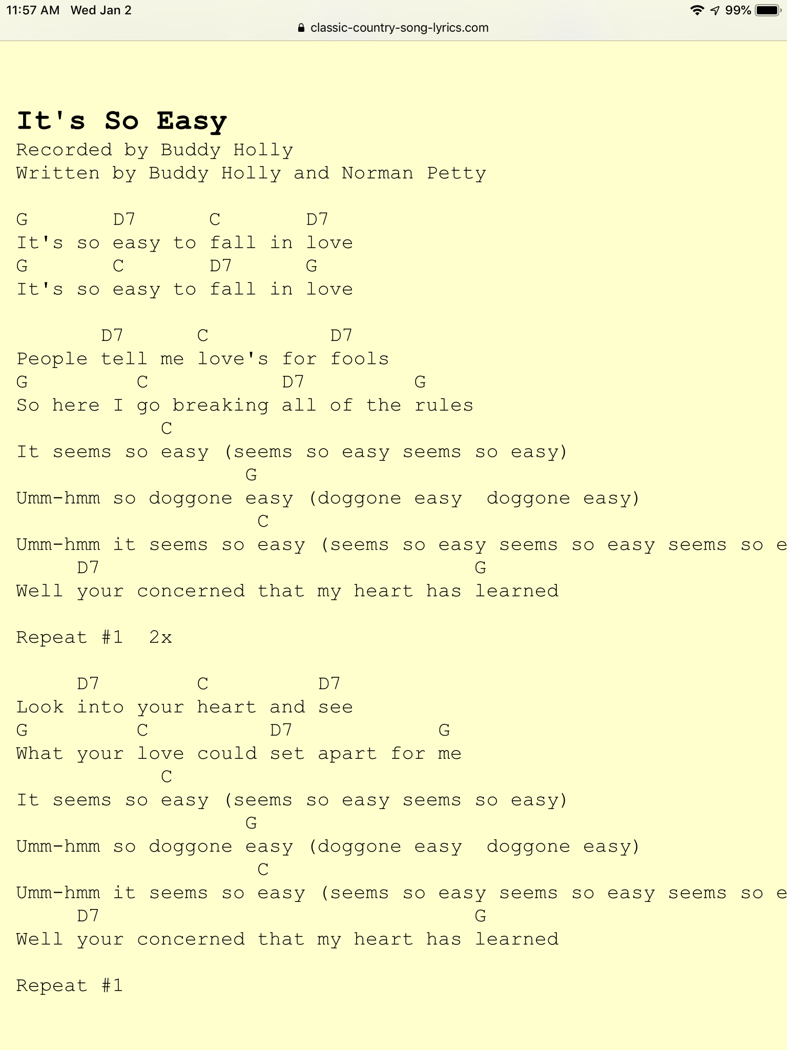 It S So Easy Classic Country Songs Music Tabs Buddy Holly