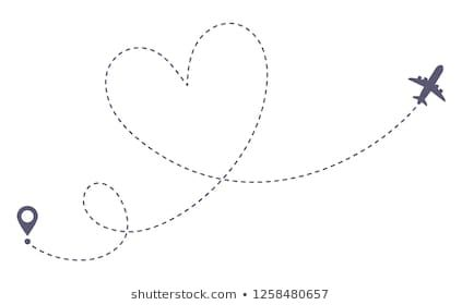 Love Airplane Route Romantic Travel Heart Dashed Line Trace And Plane Routes Hearted Airplane Path Fli Valentines Day Drawing Plane Tattoo Airplane Drawing