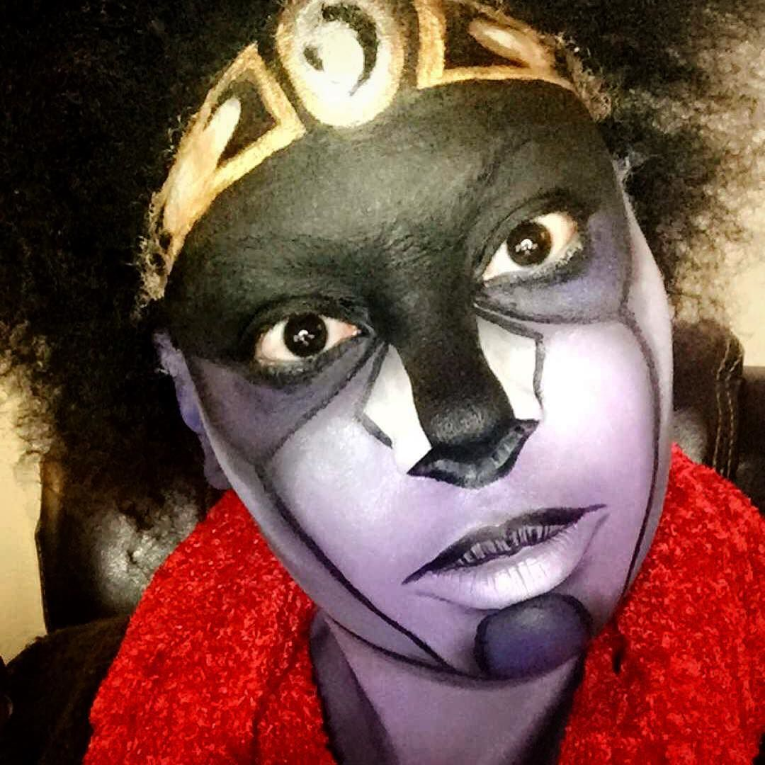 """Today I did my first viewer request. I've not read the mangas or seen the anime but after painting myself as Star Platinum from """"Jojo's Bizarre Adventure"""" I REALLY want to now. A lot of shading wth this one. It was a LOT of fun and the chat was lit #makeup #makeupaddict #makeupartist #mua #mehron #mehronparadise #mehronmakeup #starplatinum #starplatinumcosplay #starplatinummakeup #jojosbizarreadventure #jojosbizarreadventurecosplay #cosplay #cosplaymakeup #twitchtv #twitch #stream #creative…"""
