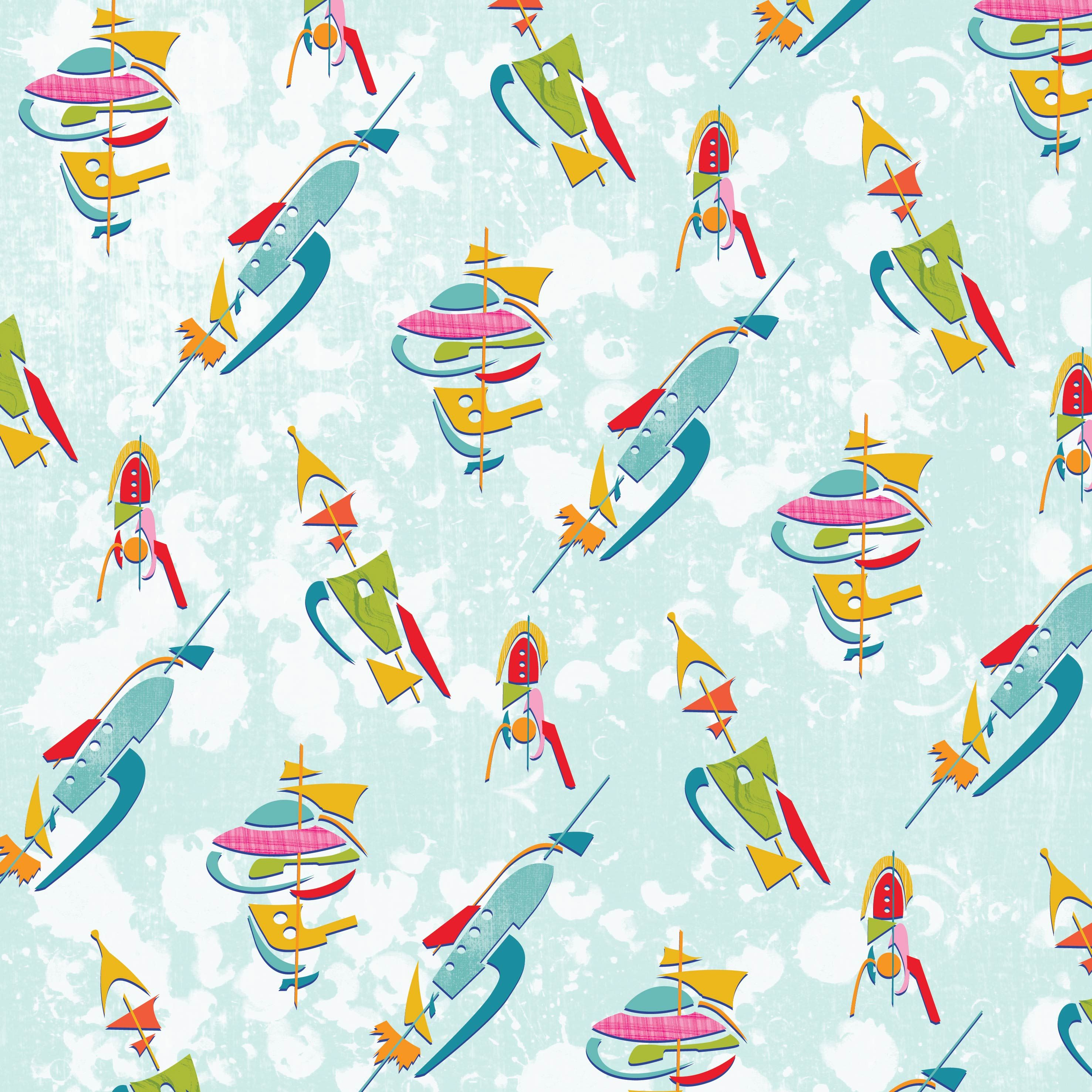 Atomic mod rockets and spaceships space pattern design for Space pattern fabric