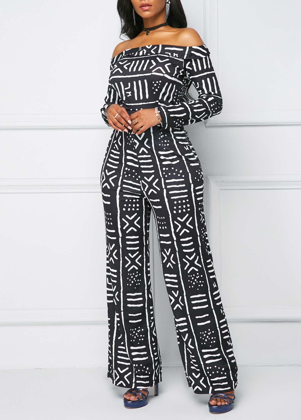 ed84a2f9cbb Printed Off the Shoulder Long Sleeve Jumpsuit | Rotita.com - USD ...