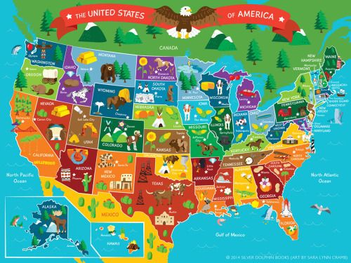 interesting-maps: Illustrated map of the US by Sara Lynn ...