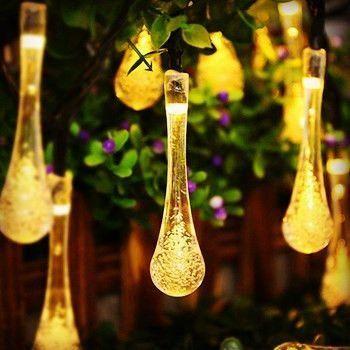 Solar powered raindrop string lights