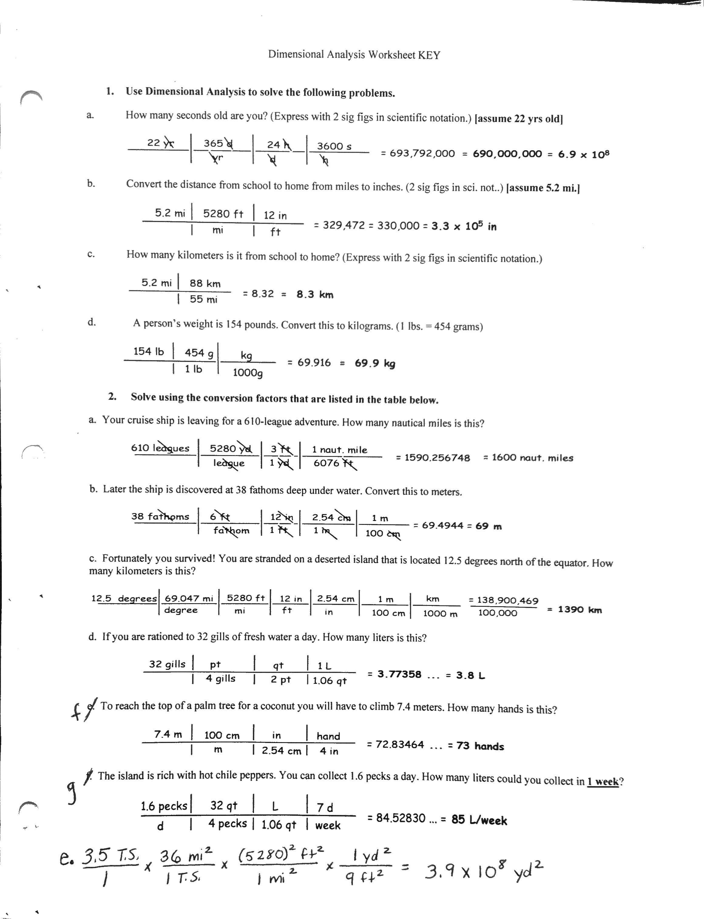 Dimensionalysis Chemistry Worksheet Dimensional