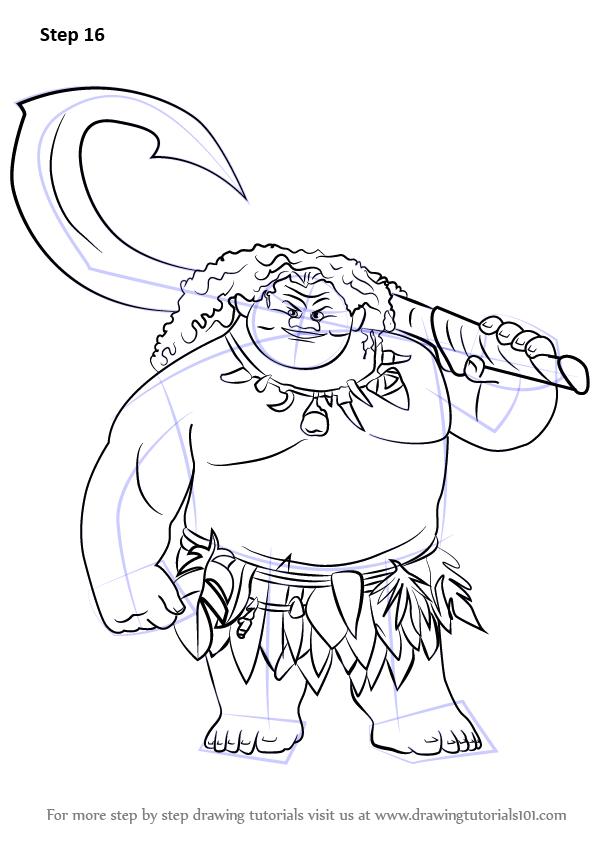 Learn How To Draw Maui From Moana Moana Step By Step Drawing Tutorials Moana Drawing Moana Sketches Maui Moana