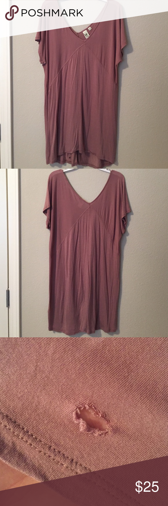 14th and Union Dress or Over-Sized Shirt Dark rose dress or oversized shirt. Looks great with boots or leggings. Excellent piece to transition into fall with. Small hole in the back of dress (pictured). Nordstrom Tops Tees - Short Sleeve