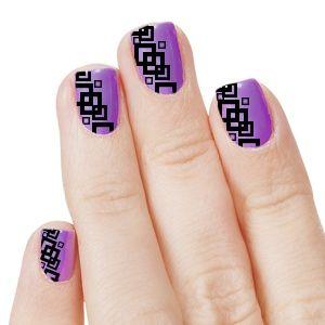 20 Dazzling Nail Art Designs With Black Polish Purple Blocks
