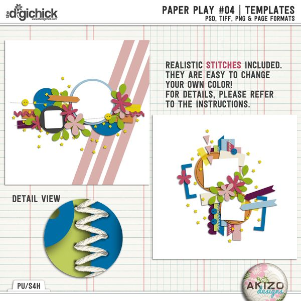 Paper Play 04 | Templates for Digital Scrapbooking for Digital Scrapbooking layout page by Akizo Designs, stitches