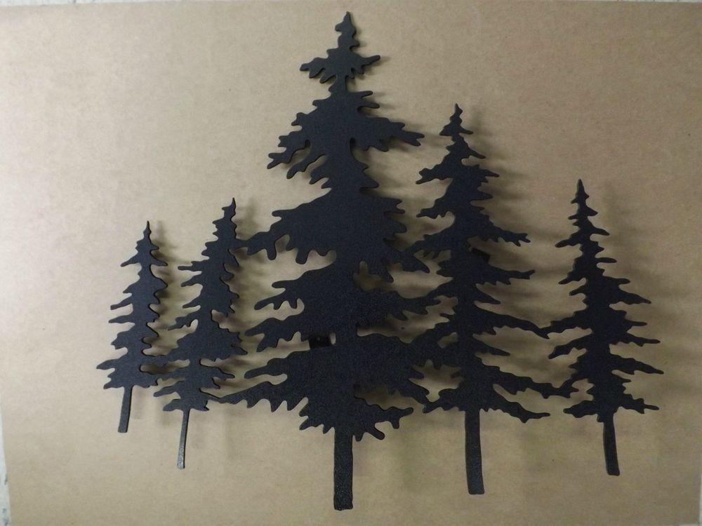 Beautiful Handmade Lodge Black Metal Wall Art 3d Pine Trees