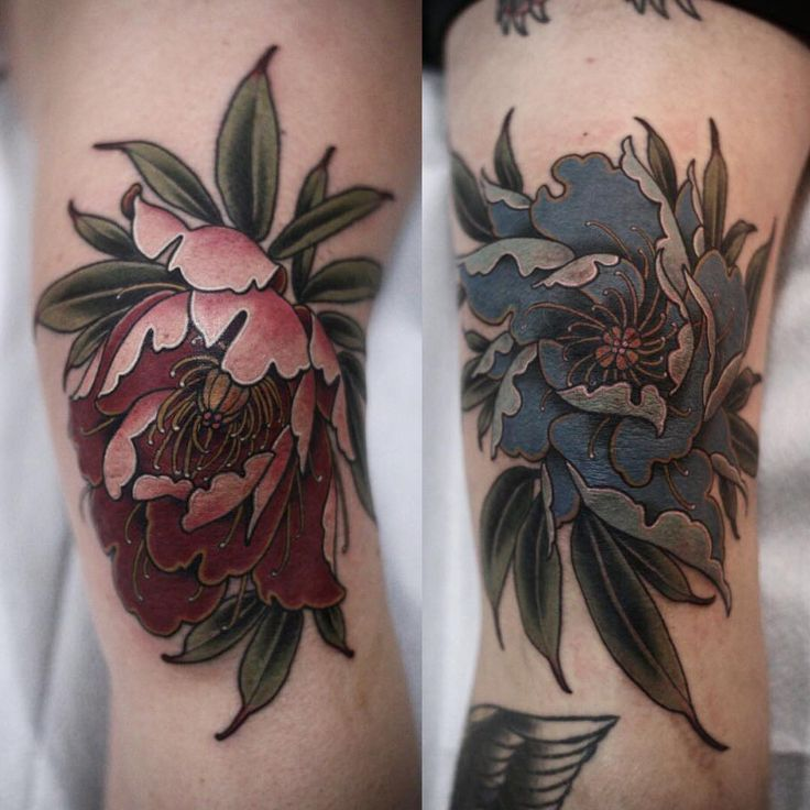 Body Art Below The Knee: Peony Drawing Flower Tattoo Designs