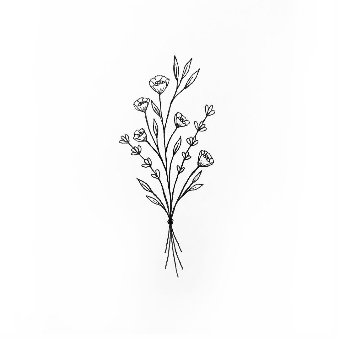 Wildflower Line Drawing : Wildflower bunch tattoo tattoos pinterest