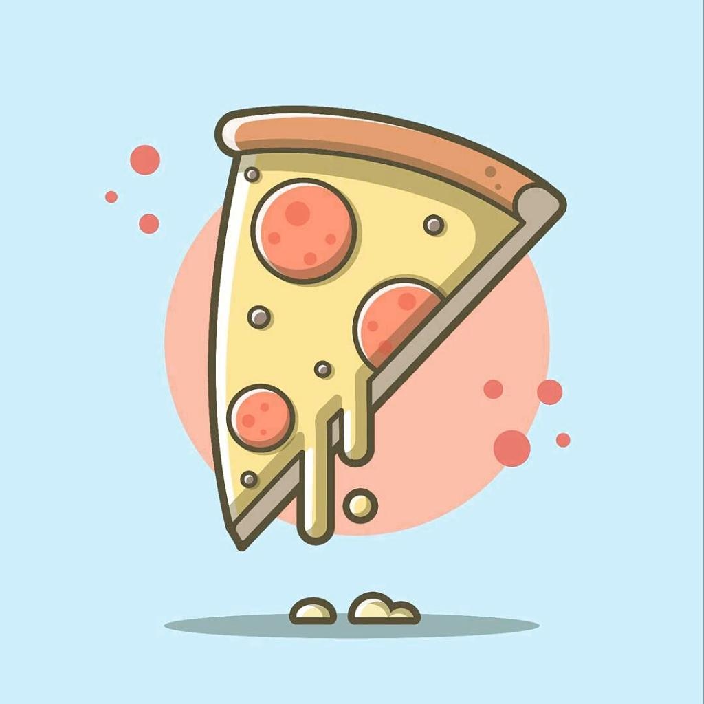 Pizza Slice Top Fast Food Illustrations Fast Food Drawing Inspiration Best Cartoon Illustrator Desig In 2020 Food Drawing Food Illustrations Food Illustration Design