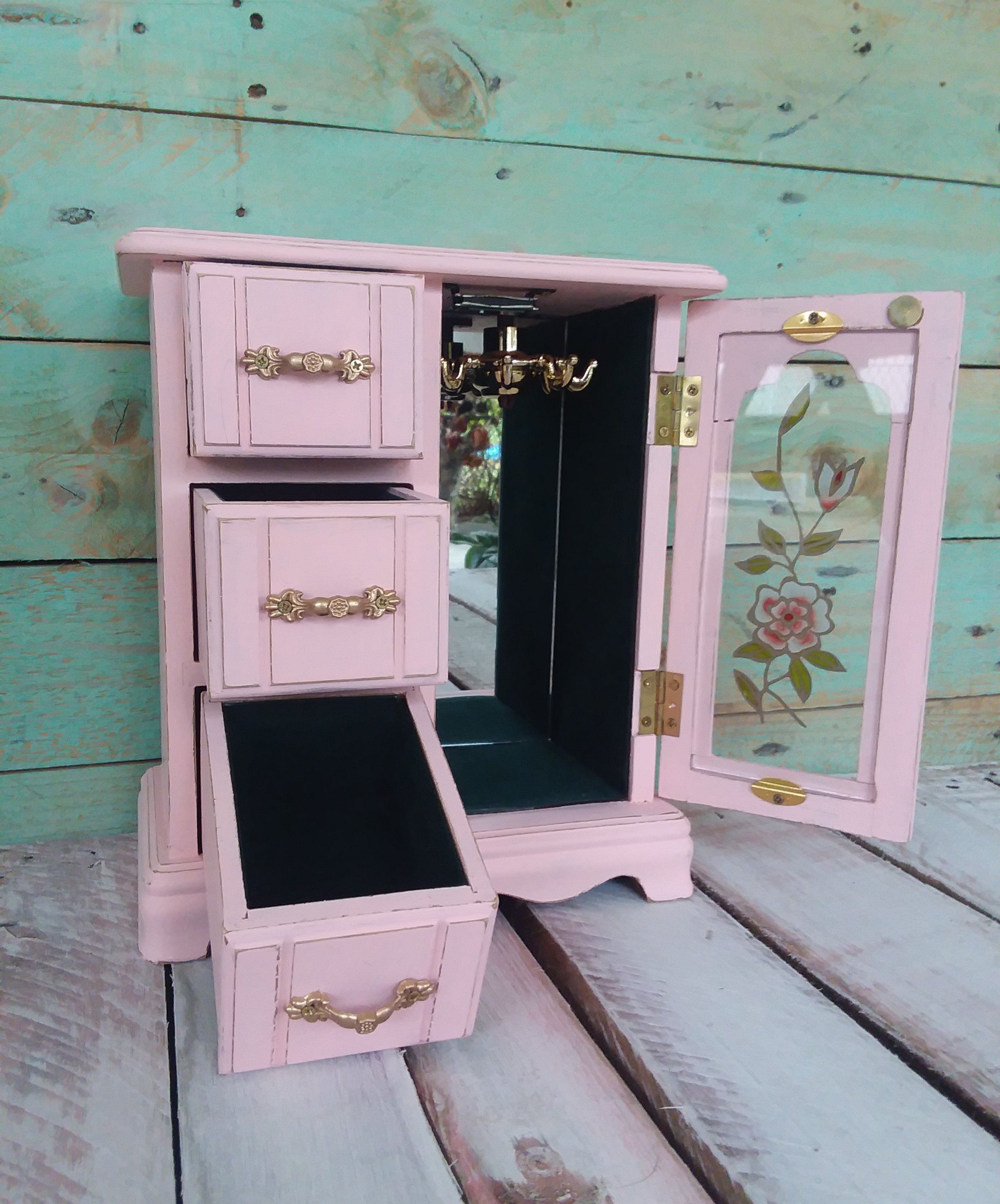 Small Shabby Chic Pink Jewelry Box Vintage Wooden Jewelry Armoire Painted Ballerina Pink Dis Shabby Chic Jewellery Box Pink Jewelry Box Painted Jewelry Armoire