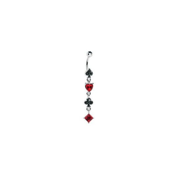 Ruby Red Black Gem Playing Card Suits Belly Ring ($11) ❤ liked on Polyvore featuring jewelry, belly rings, piercings, belly button rings, ruby red jewelry, belly rings jewelry, gemstone jewelry, belly button rings jewelry and gemstone jewellery