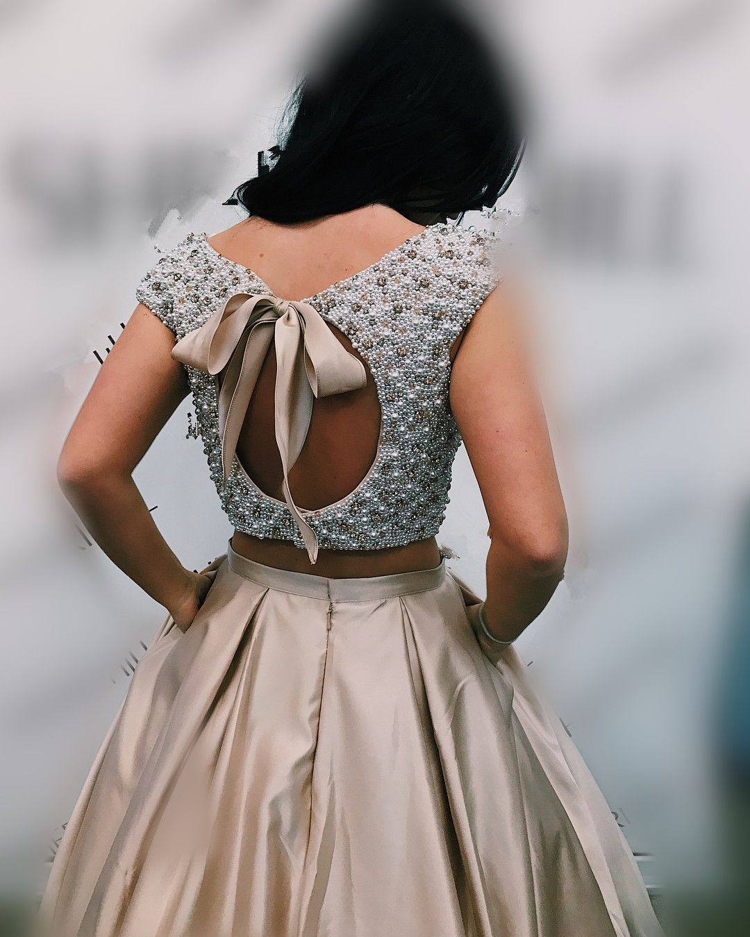Elegant two piece white pearls champagne long prom dress with