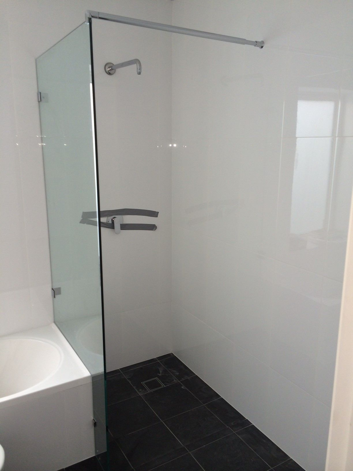 Frameless Shower Screen Panel On Bath End With Brace 10mm Jpg 1224 1632 Glass Closet Doors Shower Screen Frameless Shower
