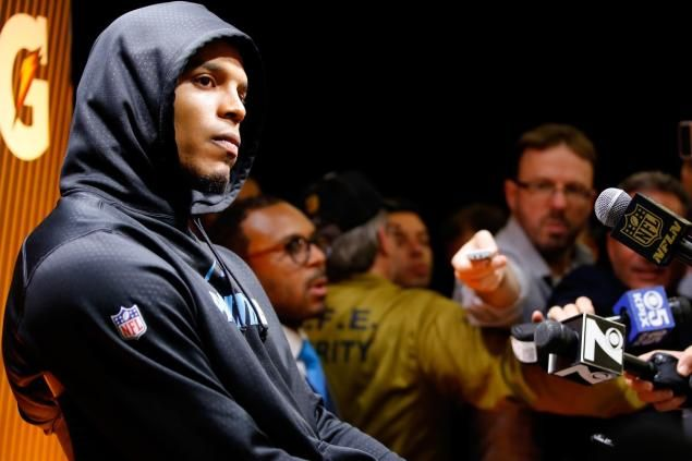 A disappointed Cam Newton  after his Carolina Panthers lost to the Denver Broncos in Super Bowl 50 on Sunday.