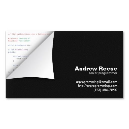 Curled corner with program coding c business cards this is a curled corner with program coding c business cards this is a fully customizable business reheart Choice Image