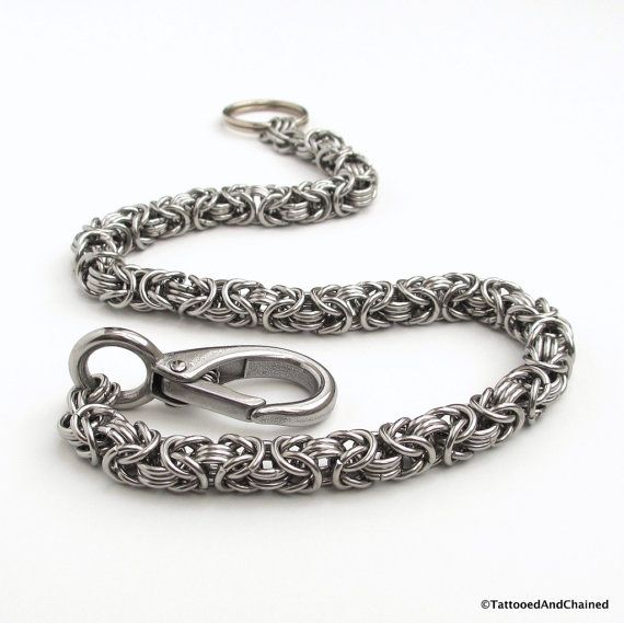 Chainmaille wallet chain, stainless steel Byzantine weave wallet chain, biker wallet chain, men's accessories