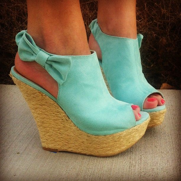 Womens Wedge Shoes Teal Blue Green