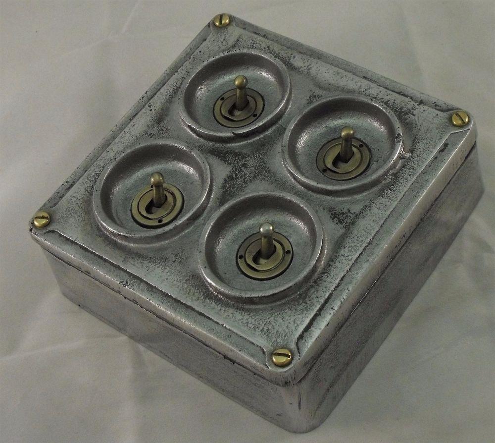 New Cast Metal Vintage Industrial 4 Gang Light Switch Bs En Approved Vintage Industrial Style Vintage Industrial Industrial Style