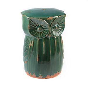 Teal Owl Ceramic Stool