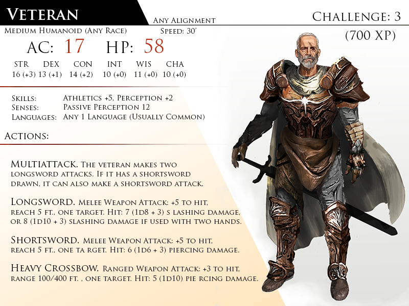 Veteran by Almega-3 | 5th edition in 2019 | Dnd monsters ...