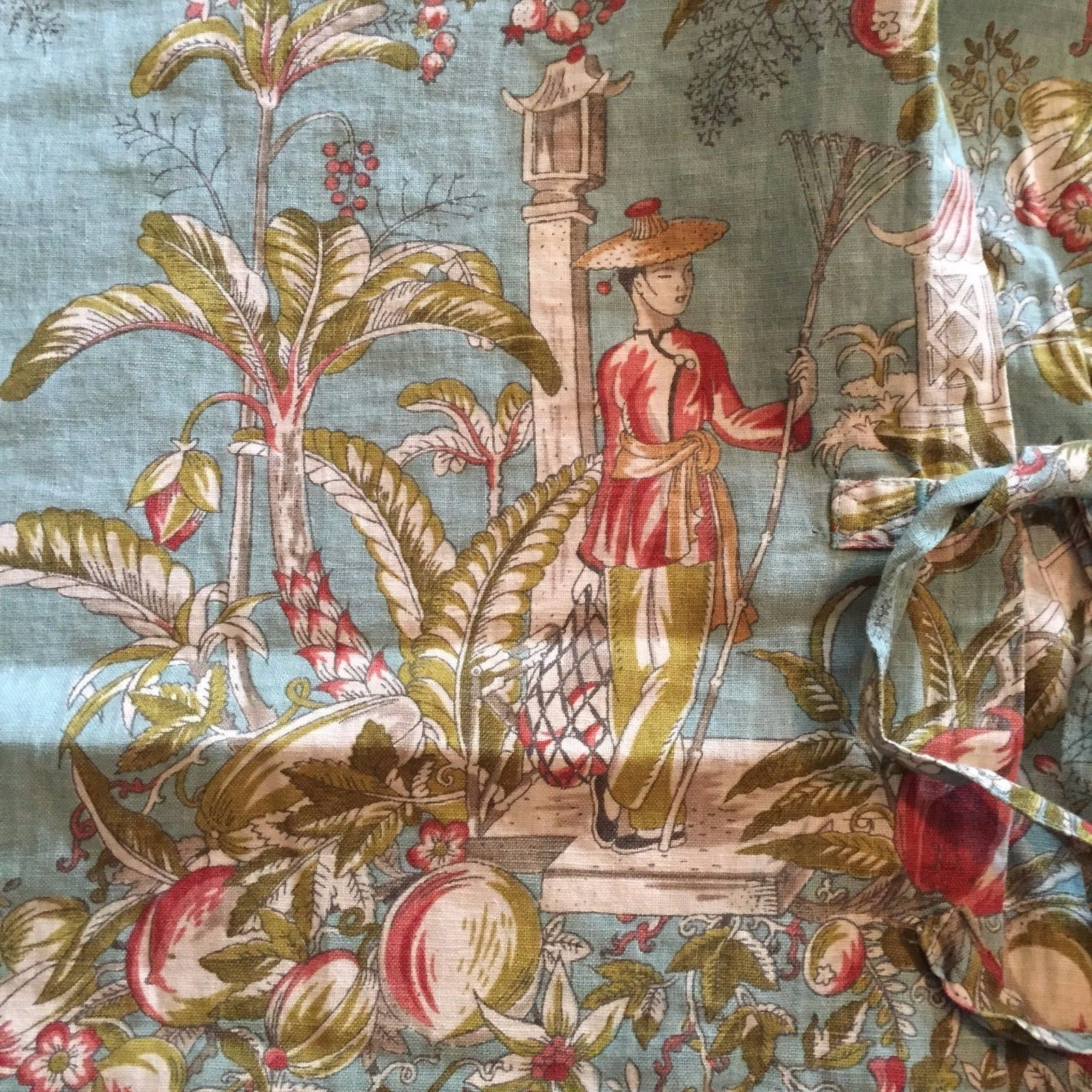 Pottery Barn King Quilt Blue Oriental Asian Toile Chinoiserie 2