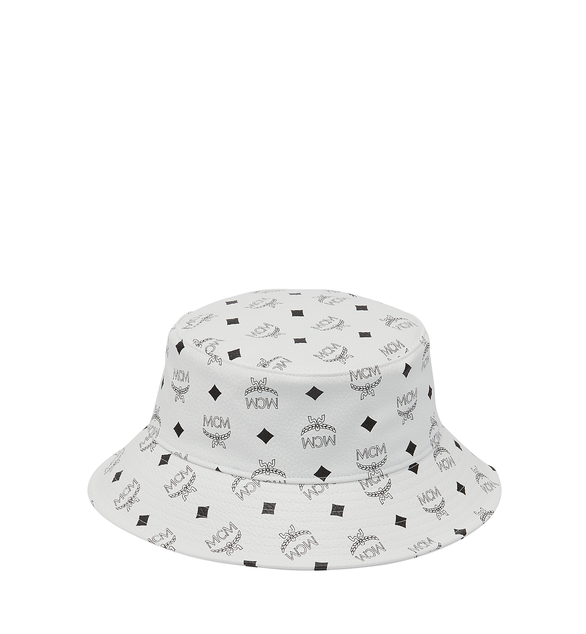 Mcm Bucket Hat In Visetos In White Modesens Bucket Hat Hats Mcm