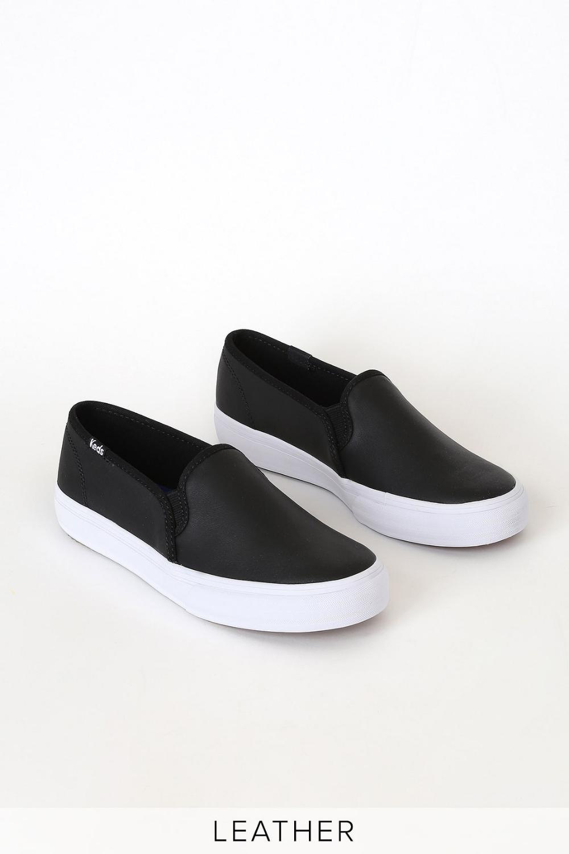 Double Decker Black Leather Slip-On