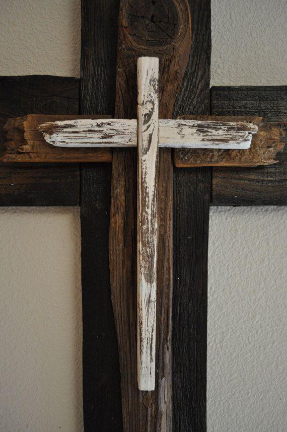 Recuerdos De Bautizo Cruz De Madera.Black And White Large Cross One Of A Kind Reclaimed Wood