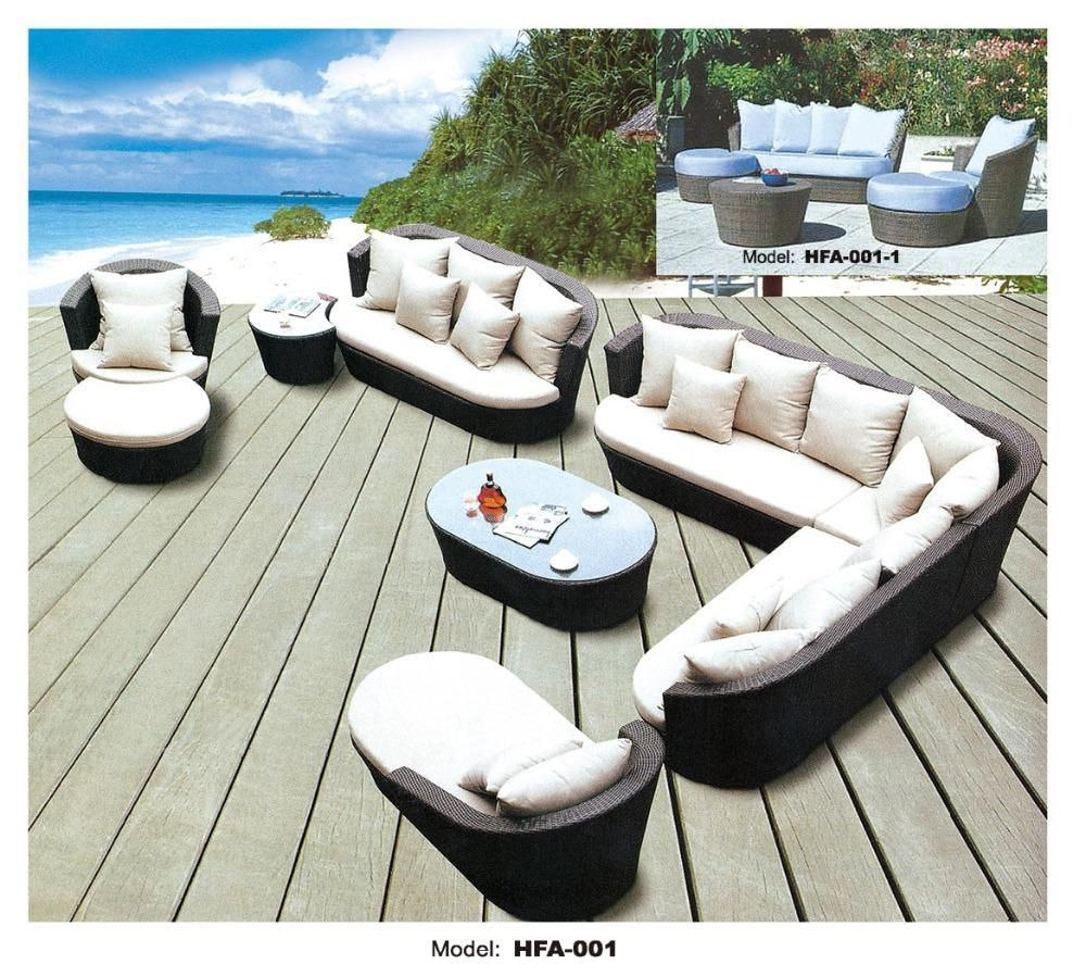 Large size outdoor sofa set new design garden furniture large rattan