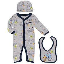 Babies R Us Boys' 3 Piece Long Sleeve Printed Coverall Set - Gray/Navy