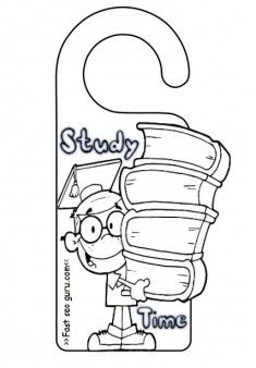 Printable Study Time Door Hanger Coloring Pages For Kids